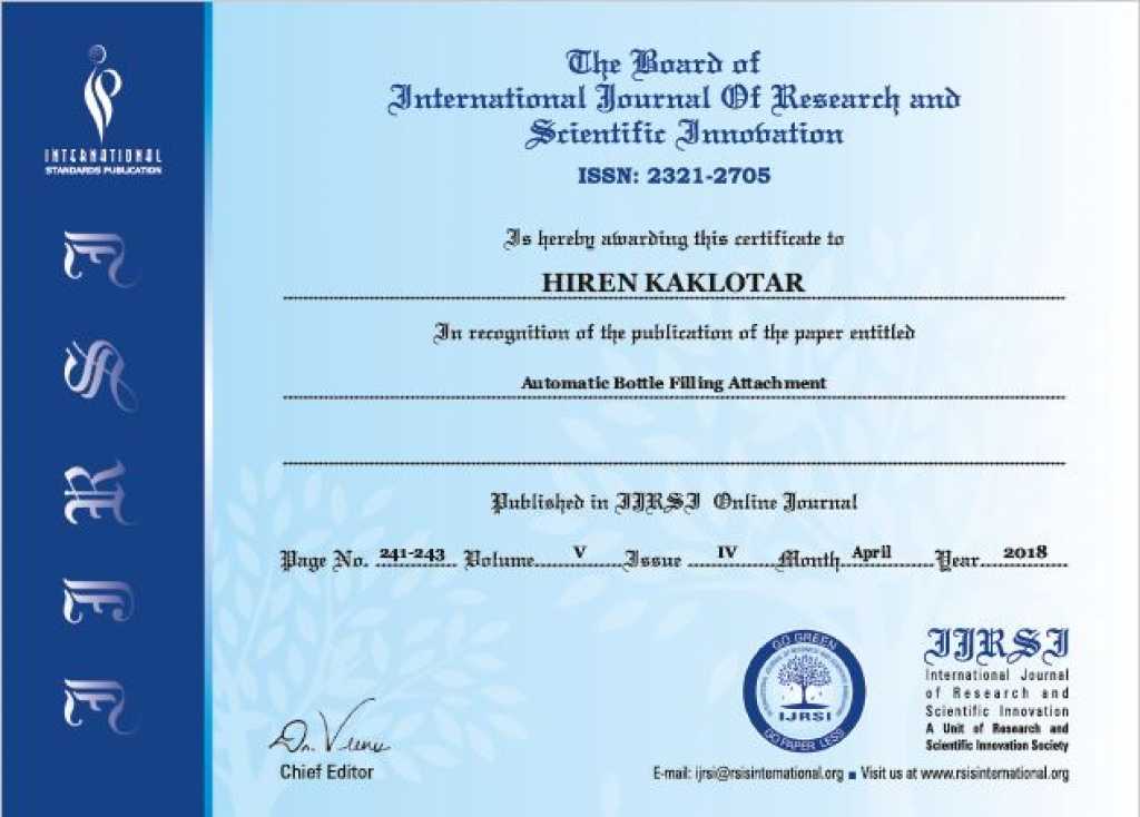 Staff Achievements Research Paper Published By Lect. Hiren Kaklotar